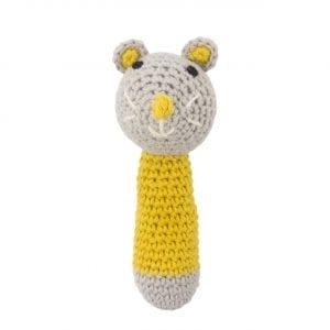 C0219 Crochet Mouse Rattle Ochre