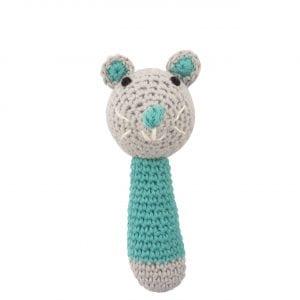 C0221 Crochet Mouse Rattle L. Blue