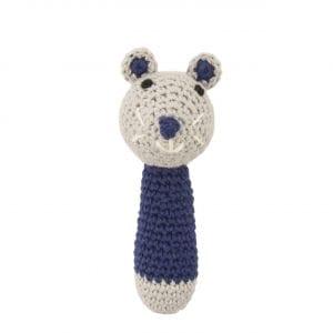 C0222 Crochet Mouse Rattle D.blue