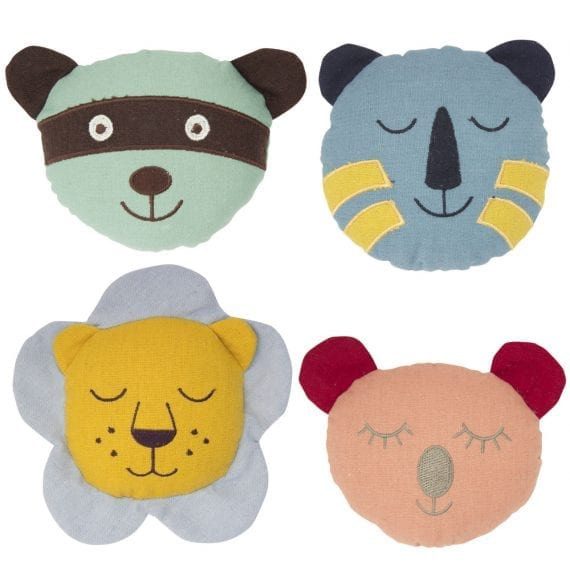 Animal Face Rattle Linen