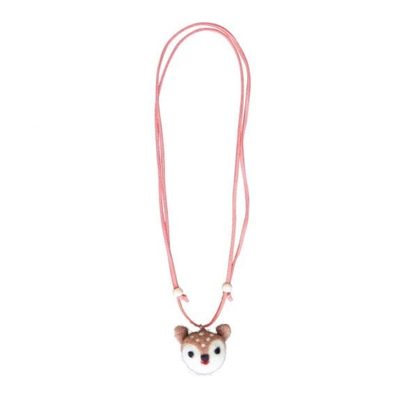 Necklace woolfelt deer