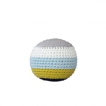 Crochet Ball Small Stripe with Beep blue