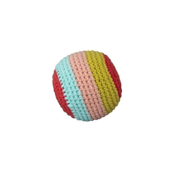 Crochet Ball Stripe with beep coral