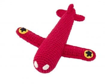 Crochet Rattle Airplane Red