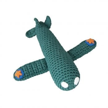 Crochet Rattle Airplane Dark Green
