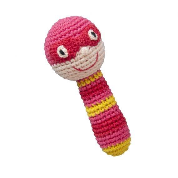Crochet Rattles Super Hero Pink Red