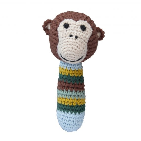 Crochet rattle monkey