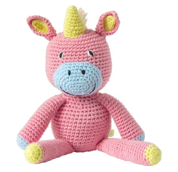 Crochet animal unicorn pink