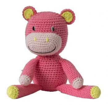 Crochet hippo pink