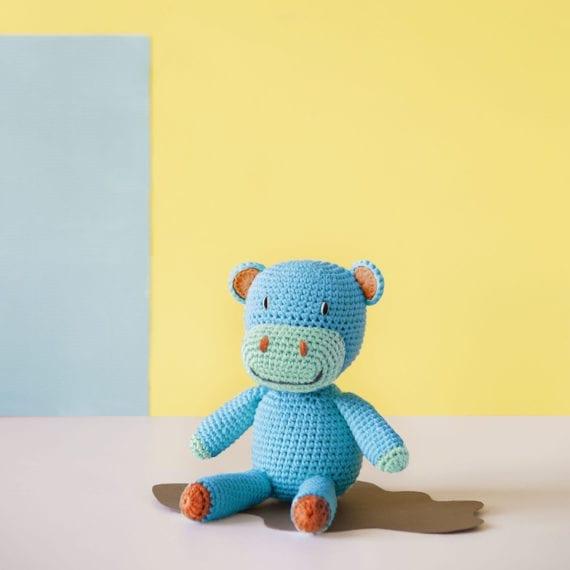 Crochet Hippo Petrol Organic Cotton