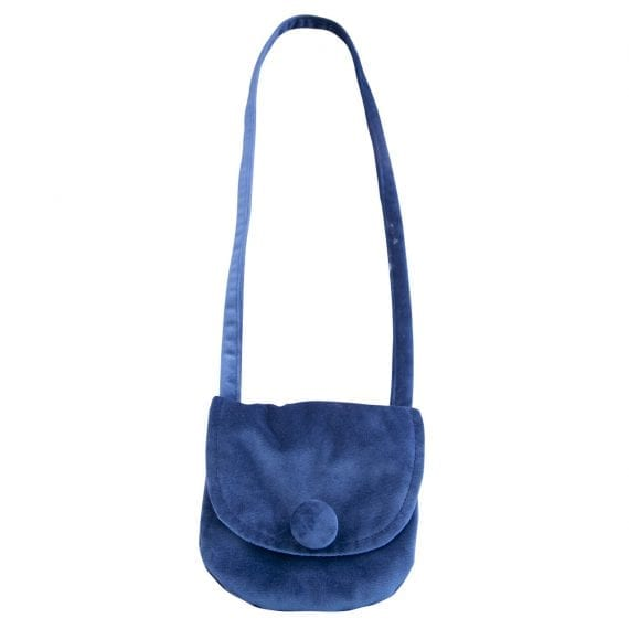 velvet shoulder bag dark blue