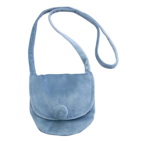 velvet shoulder bag blue