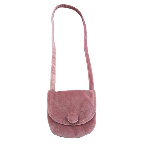 velvet shoulder bag pink
