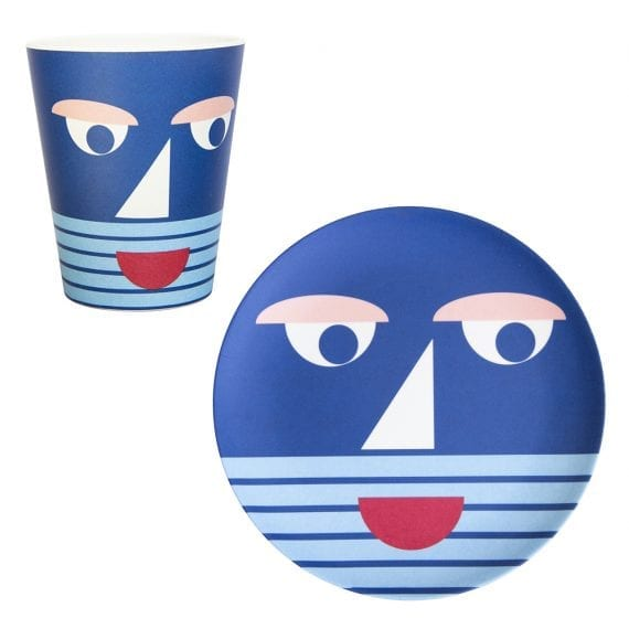 Bamboo face plate and mug in blue
