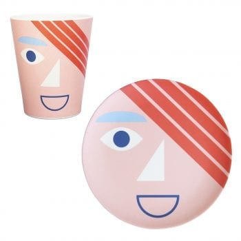 Bamboo face plate and mug in coral