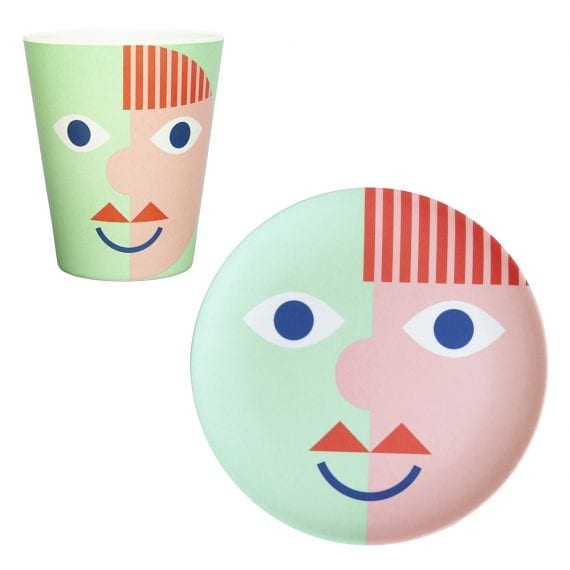 Bamboo face plate and mug in green and red