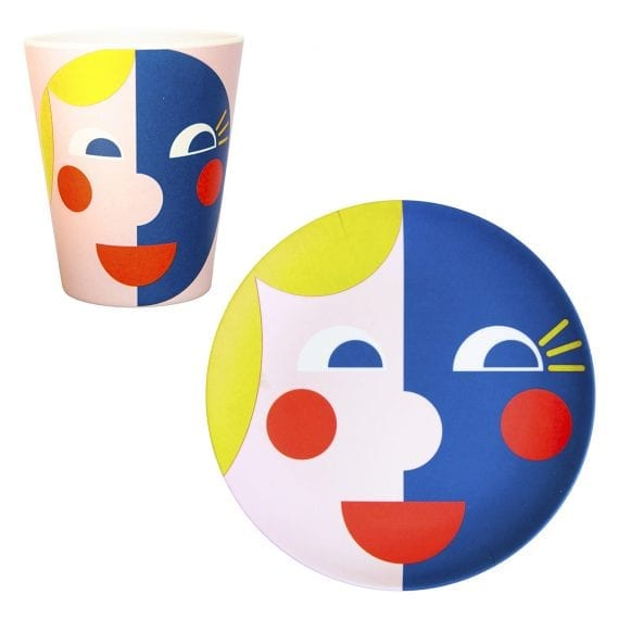 Bamboo face plate and mug in yellow and blue
