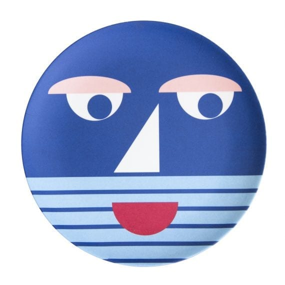 Bamboo plate face blue