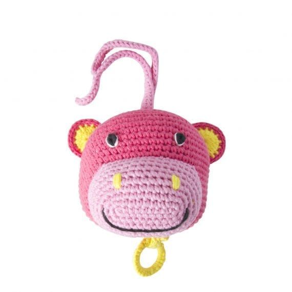 crochet music box hippo
