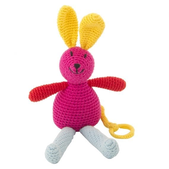 Crochet music bunny fuchsia