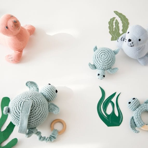sea animal toys crochet linen
