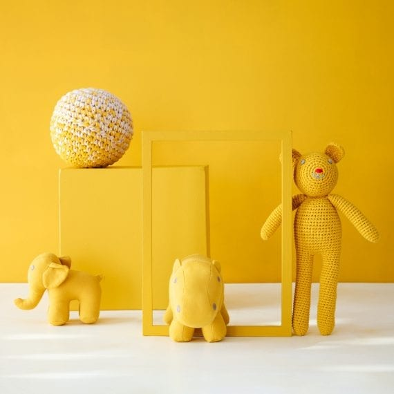 yellow sustainable knitted toys