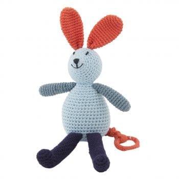 Crochet music bunny blue