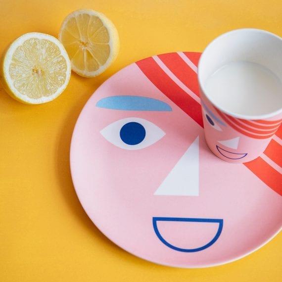 Face bamboo plate and mug