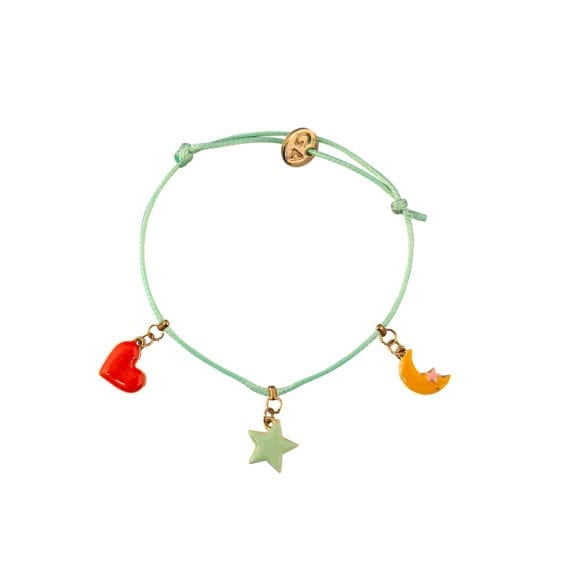 Bracelet Heart, Star en Moon