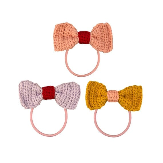 Crochet Hair Elastics Ribbon Bow