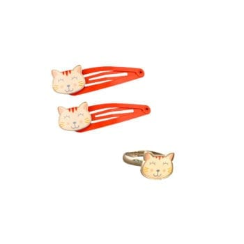 Set Cat Hairclips Ring
