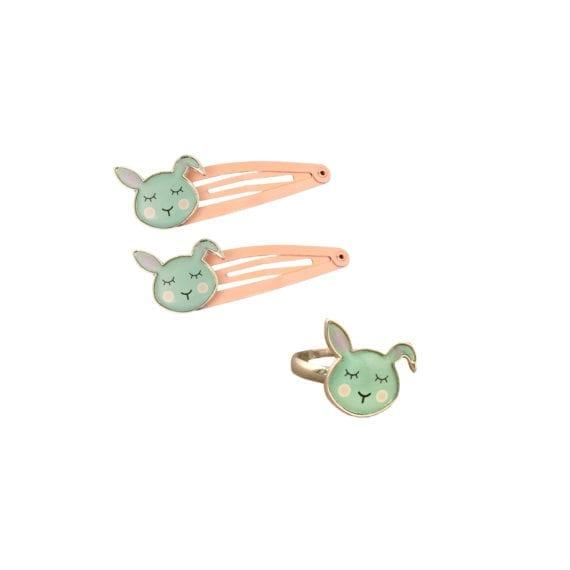Set Bunny Hairclips Ring