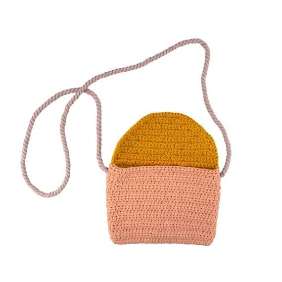 Crochet Bag Pink Yellow Open