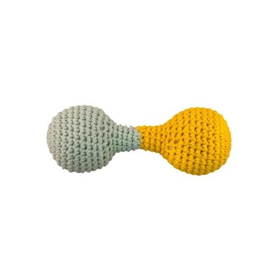 Crochet Dumbbel Rattle Yellow Blue