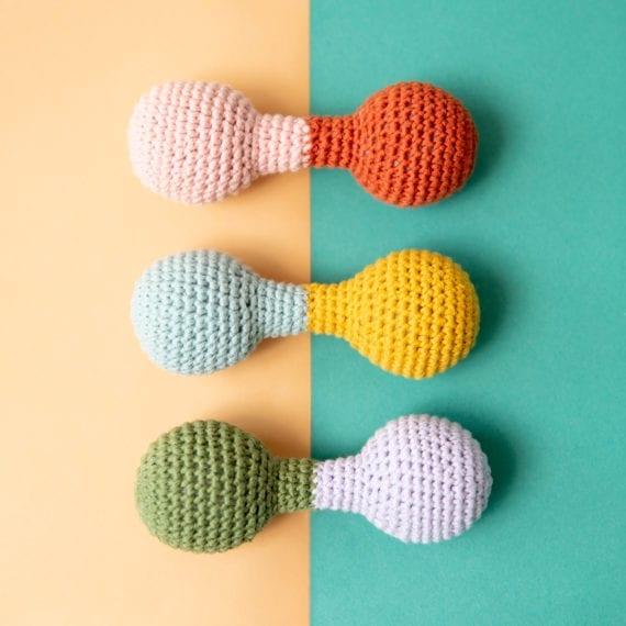 C0237 Crochet Dumbbell Rattle Assorted