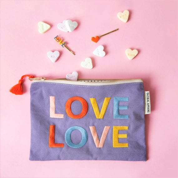 Pouch Love Purple Hairpins Heart
