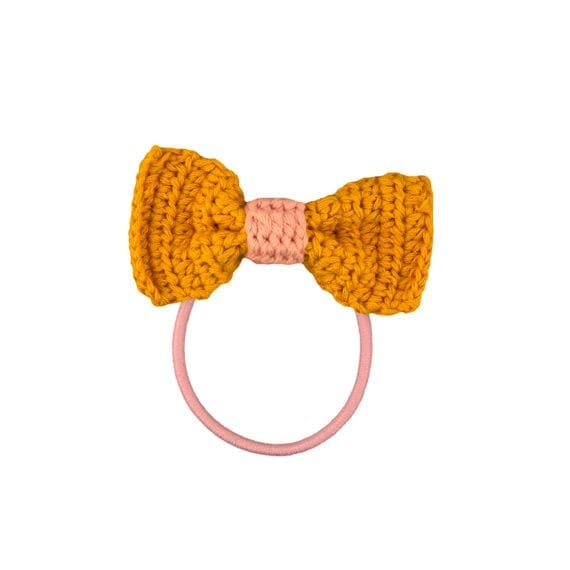 Crochet Hair Elastics Yellow Pink