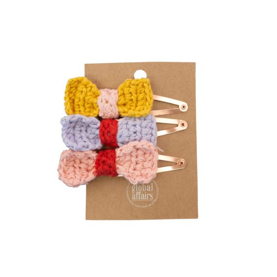 Crochet Hairclips Bow Assorted Packaging
