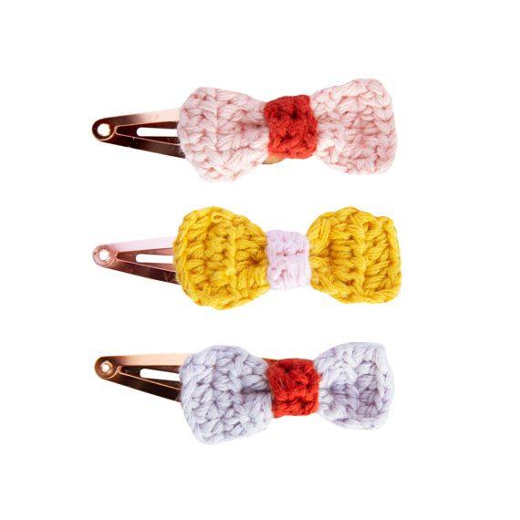 Crochet Hairclips Bow Assorted Set